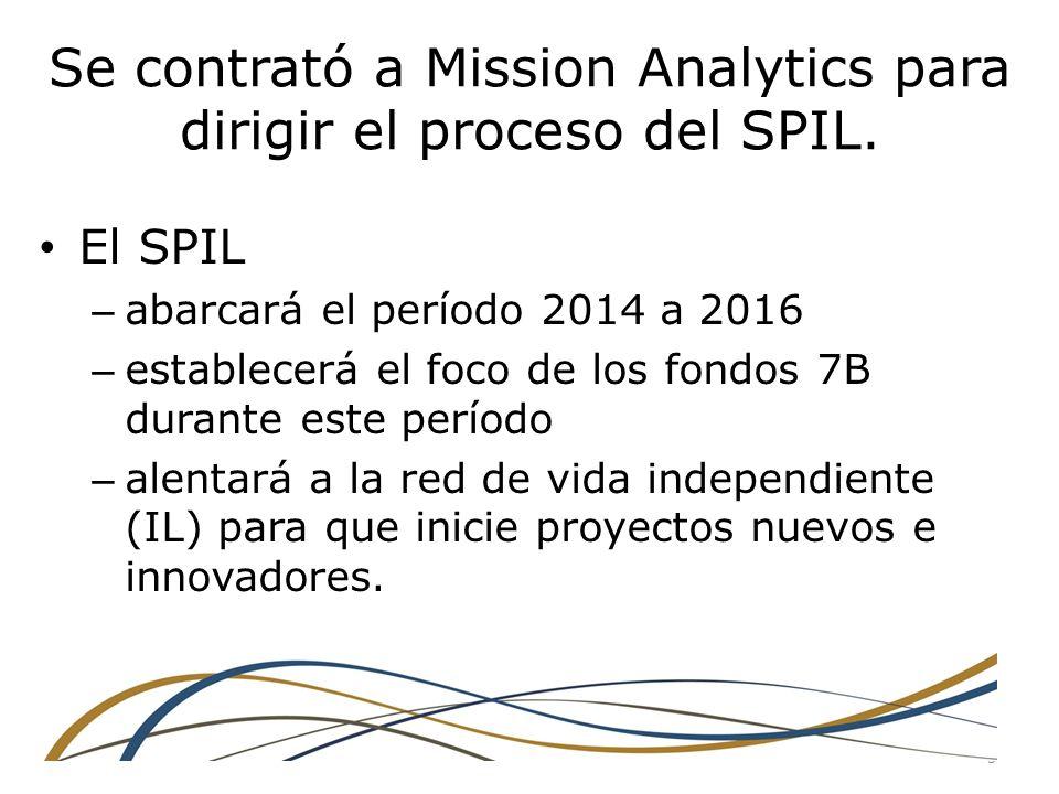 Se contrató a Mission Analytics para dirigir el proceso del SPIL.