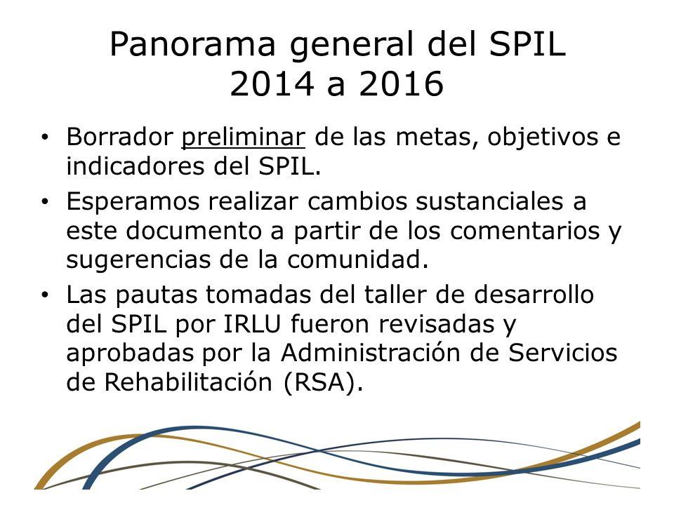 Panorama general del SPIL 2014 a 2016 Borrador preliminar de las metas, objetivos e indicadores del SPIL.