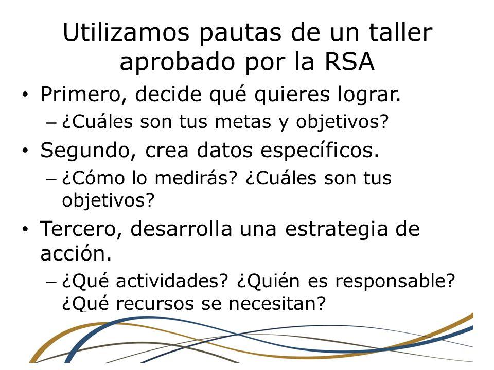 Utilizamos pautas de un taller aprobado por la RSA Primero, decide qué quieres lograr.