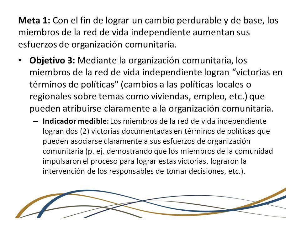 Meta 2: Los individuos que residen en instituciones logran una transición exitosa a entornos comunitarios.