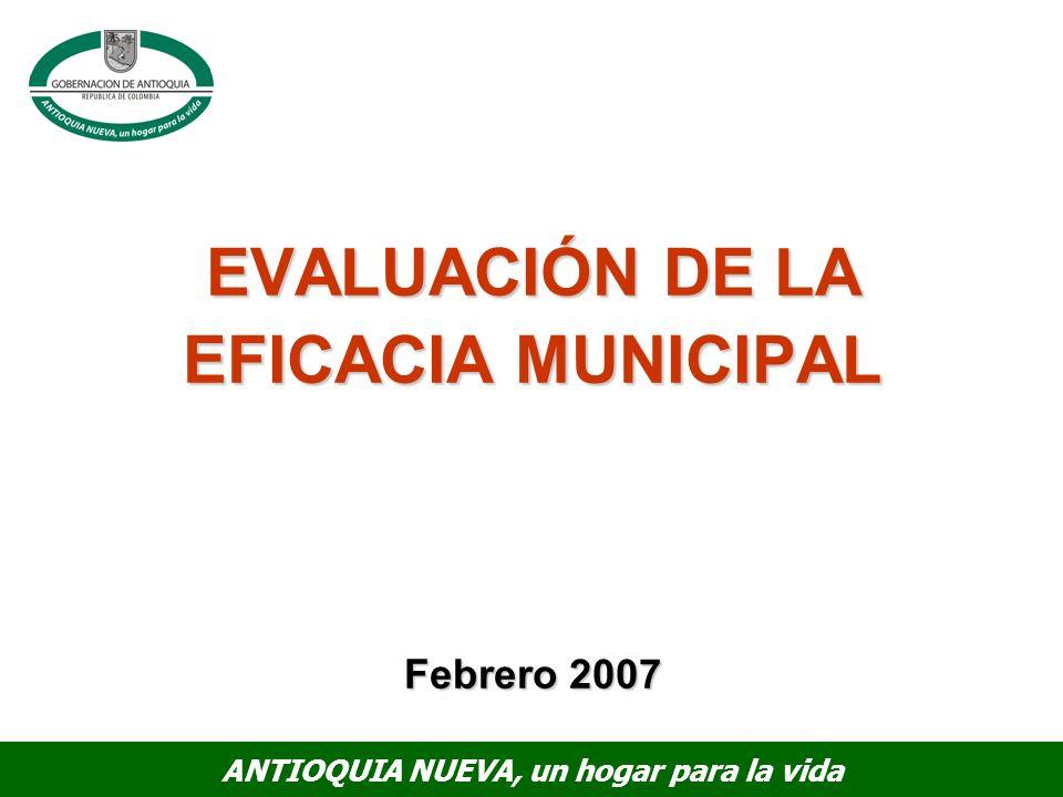 ANTIOQUIA NUEVA, un hogar para la vida EVALUACIÓN DE LA EFICACIA MUNICIPAL Febrero 2007