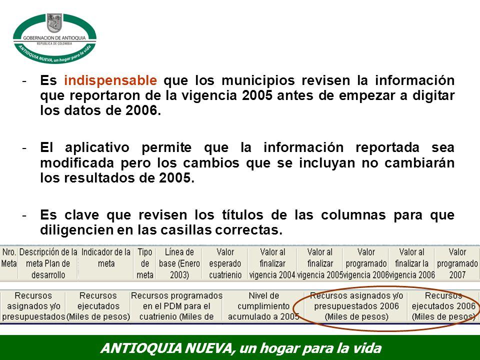ANTIOQUIA NUEVA, un hogar para la vida -Es indispensable que los municipios revisen la información que reportaron de la vigencia 2005 antes de empezar a digitar los datos de 2006.