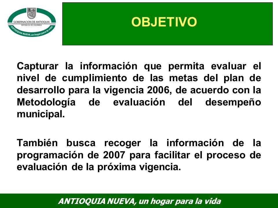 ANTIOQUIA NUEVA, un hogar para la vida OBJETIVO Capturar la información que permita evaluar el nivel de cumplimiento de las metas del plan de desarrollo para la vigencia 2006, de acuerdo con la Metodología de evaluación del desempeño municipal.