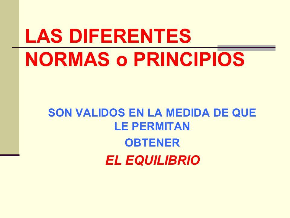 LAS DIFERENTES NORMAS o PRINCIPIOS SON VALIDOS EN LA MEDIDA DE QUE LE PERMITAN OBTENER EL EQUILIBRIO
