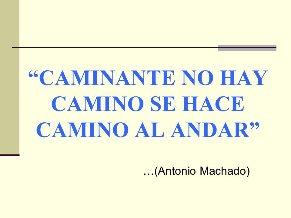 CAMINANTE NO HAY CAMINO SE HACE CAMINO AL ANDAR …(Antonio Machado)