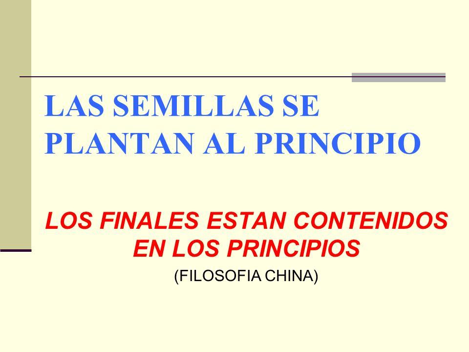 LAS SEMILLAS SE PLANTAN AL PRINCIPIO LOS FINALES ESTAN CONTENIDOS EN LOS PRINCIPIOS (FILOSOFIA CHINA)