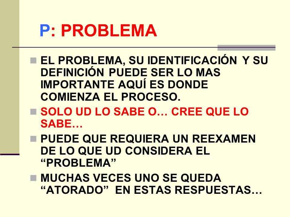 P: PROBLEMA EL PROBLEMA, SU IDENTIFICACIÓN Y SU DEFINICIÓN PUEDE SER LO MAS IMPORTANTE AQUÍ ES DONDE COMIENZA EL PROCESO.
