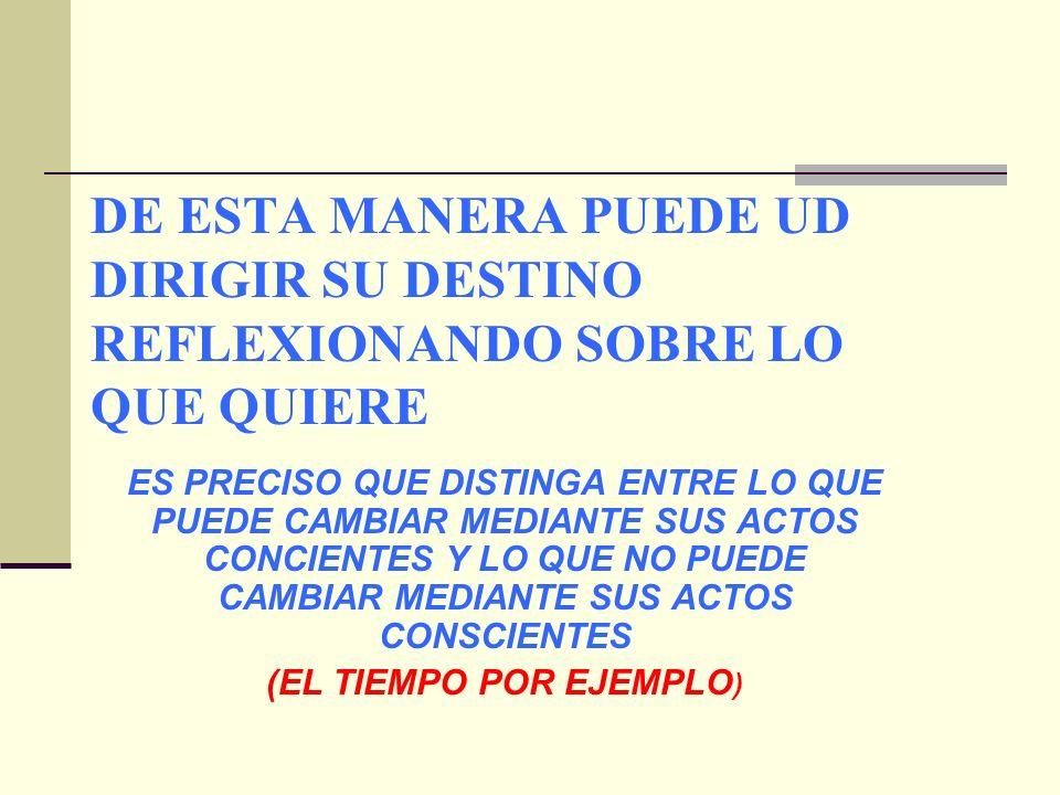 DE ESTA MANERA PUEDE UD DIRIGIR SU DESTINO REFLEXIONANDO SOBRE LO QUE QUIERE ES PRECISO QUE DISTINGA ENTRE LO QUE PUEDE CAMBIAR MEDIANTE SUS ACTOS CONCIENTES Y LO QUE NO PUEDE CAMBIAR MEDIANTE SUS ACTOS CONSCIENTES (EL TIEMPO POR EJEMPLO )