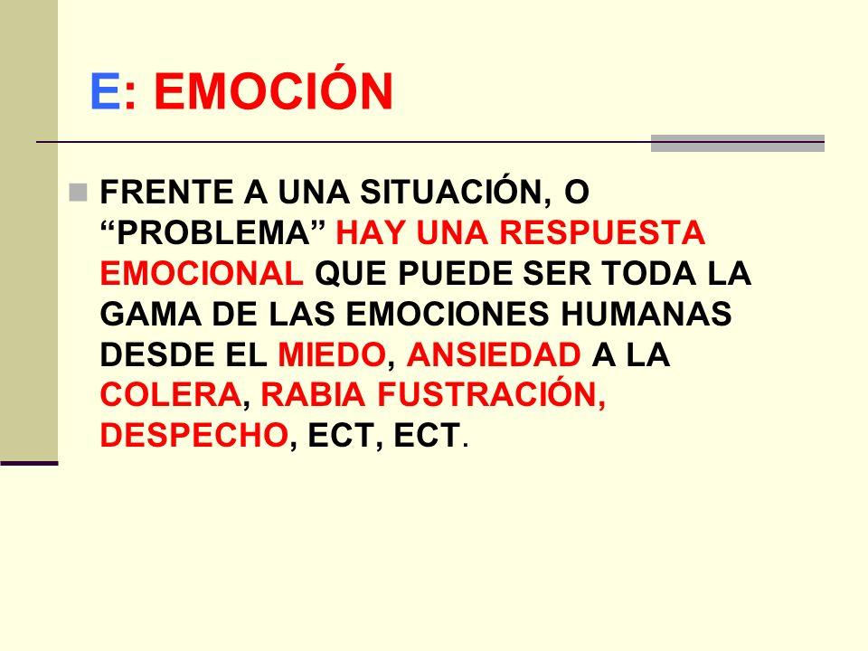 E: EMOCIÓN FRENTE A UNA SITUACIÓN, O PROBLEMA HAY UNA RESPUESTA EMOCIONAL QUE PUEDE SER TODA LA GAMA DE LAS EMOCIONES HUMANAS DESDE EL MIEDO, ANSIEDAD A LA COLERA, RABIA FUSTRACIÓN, DESPECHO, ECT, ECT.