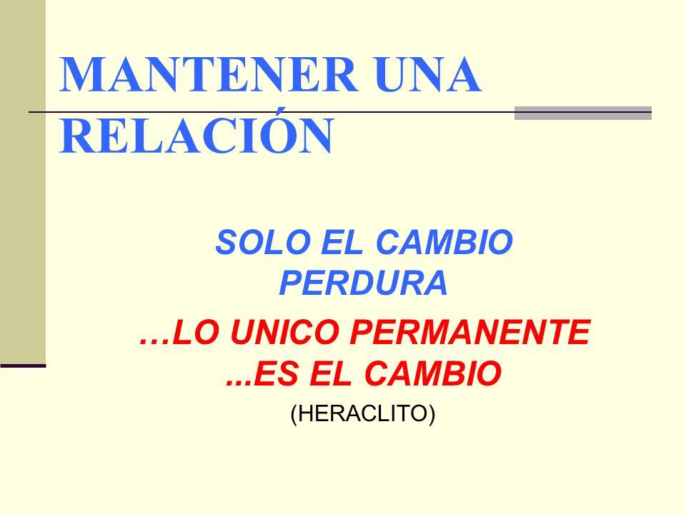 MANTENER UNA RELACIÓN SOLO EL CAMBIO PERDURA …LO UNICO PERMANENTE...ES EL CAMBIO (HERACLITO)