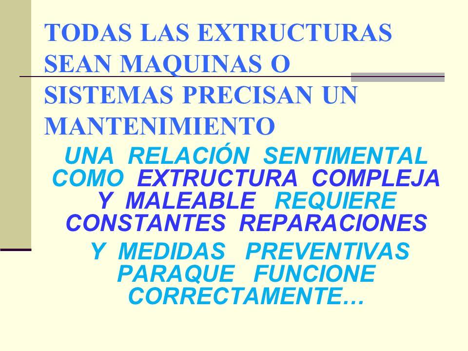 TODAS LAS EXTRUCTURAS SEAN MAQUINAS O SISTEMAS PRECISAN UN MANTENIMIENTO UNA RELACIÓN SENTIMENTAL COMO EXTRUCTURA COMPLEJA Y MALEABLE REQUIERE CONSTANTES REPARACIONES Y MEDIDAS PREVENTIVAS PARAQUE FUNCIONE CORRECTAMENTE…
