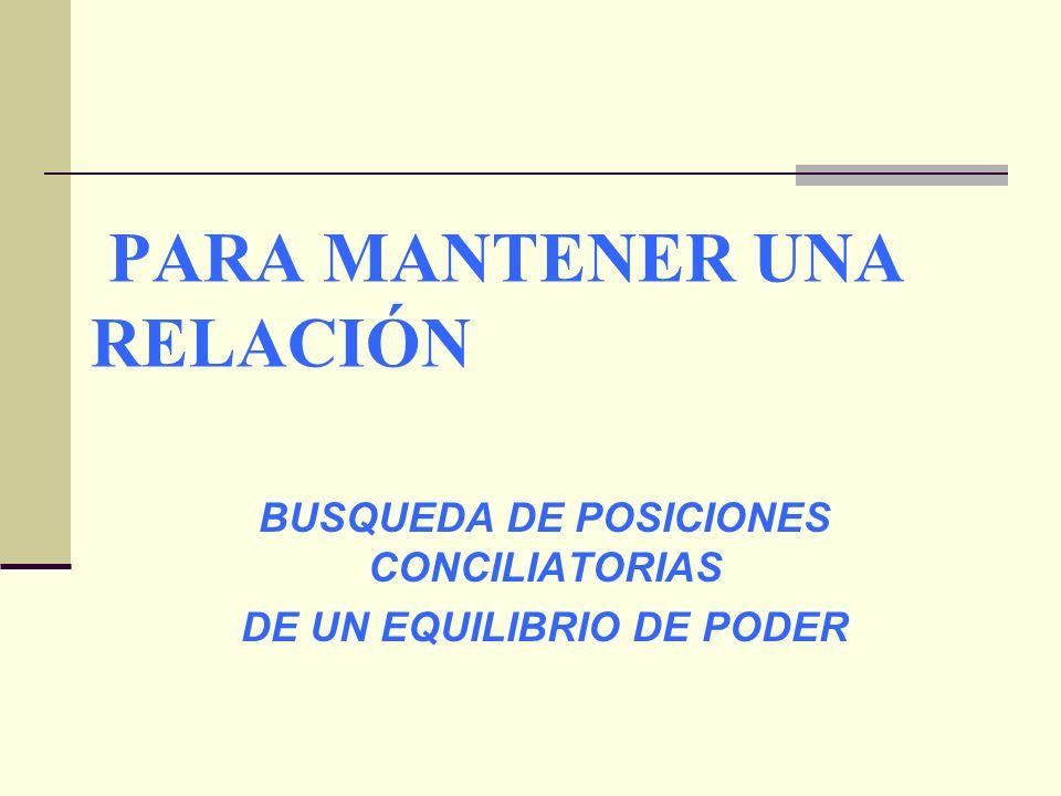 PARA MANTENER UNA RELACIÓN BUSQUEDA DE POSICIONES CONCILIATORIAS DE UN EQUILIBRIO DE PODER