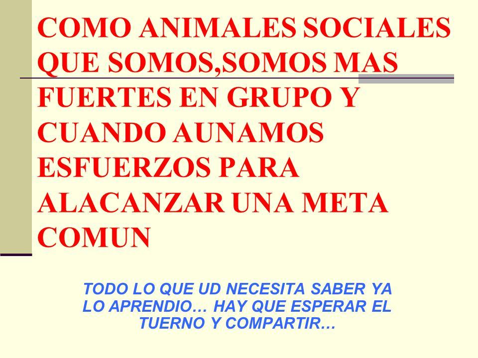 COMO ANIMALES SOCIALES QUE SOMOS,SOMOS MAS FUERTES EN GRUPO Y CUANDO AUNAMOS ESFUERZOS PARA ALACANZAR UNA META COMUN TODO LO QUE UD NECESITA SABER YA LO APRENDIO… HAY QUE ESPERAR EL TUERNO Y COMPARTIR…