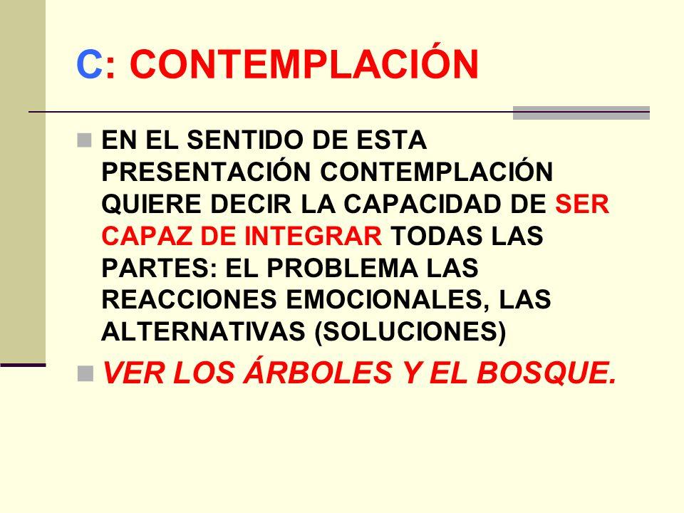 C: CONTEMPLACIÓN EN EL SENTIDO DE ESTA PRESENTACIÓN CONTEMPLACIÓN QUIERE DECIR LA CAPACIDAD DE SER CAPAZ DE INTEGRAR TODAS LAS PARTES: EL PROBLEMA LAS REACCIONES EMOCIONALES, LAS ALTERNATIVAS (SOLUCIONES) VER LOS ÁRBOLES Y EL BOSQUE.