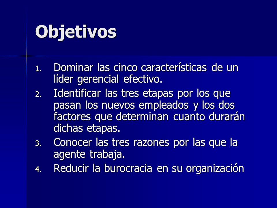 Objetivos 1. Dominar las cinco características de un líder gerencial efectivo. 2. Identificar las tres etapas por los que pasan los nuevos empleados y