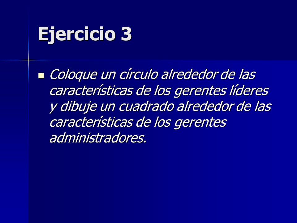 Ejercicio 3 Coloque un círculo alrededor de las características de los gerentes líderes y dibuje un cuadrado alrededor de las características de los g