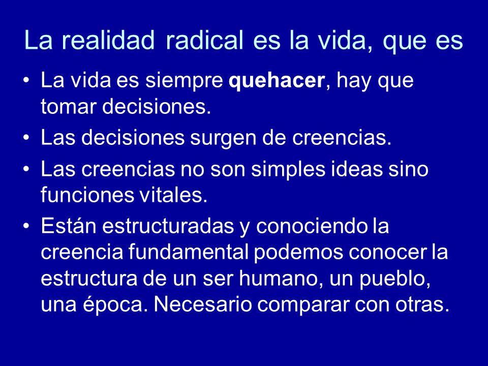 La realidad radical es la vida, que es La vida es siempre quehacer, hay que tomar decisiones. Las decisiones surgen de creencias. Las creencias no son