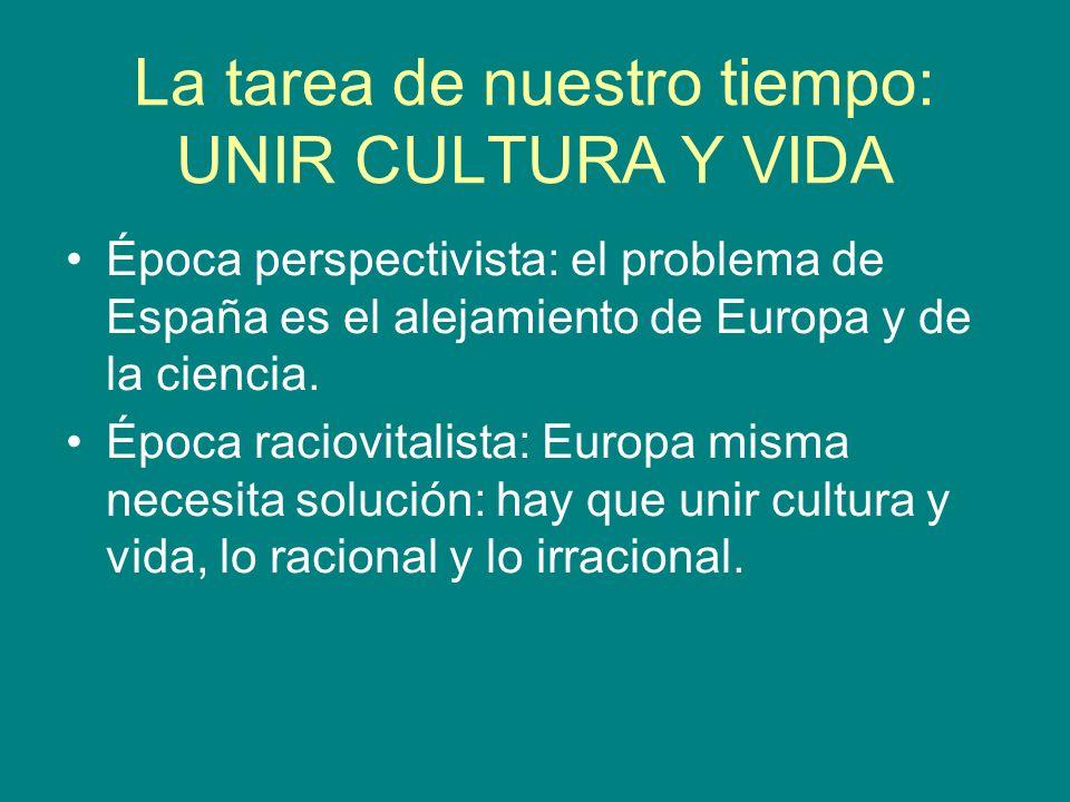 La tarea de nuestro tiempo: UNIR CULTURA Y VIDA Época perspectivista: el problema de España es el alejamiento de Europa y de la ciencia. Época raciovi