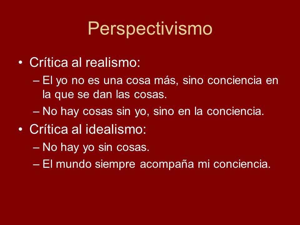 Perspectivismo Crítica al realismo: –El yo no es una cosa más, sino conciencia en la que se dan las cosas. –No hay cosas sin yo, sino en la conciencia