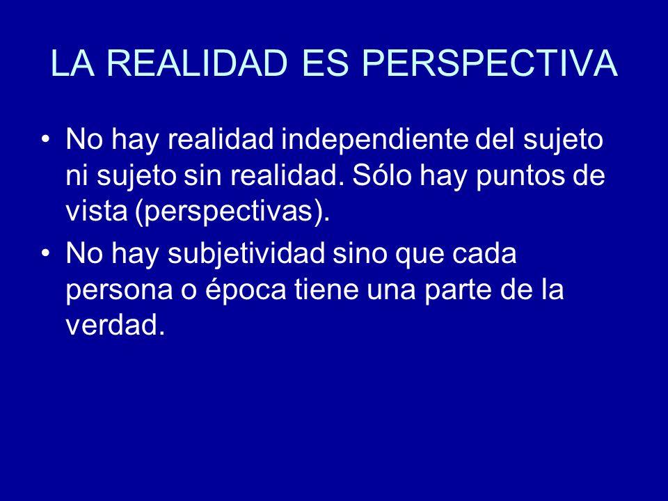LA REALIDAD ES PERSPECTIVA No hay realidad independiente del sujeto ni sujeto sin realidad. Sólo hay puntos de vista (perspectivas). No hay subjetivid