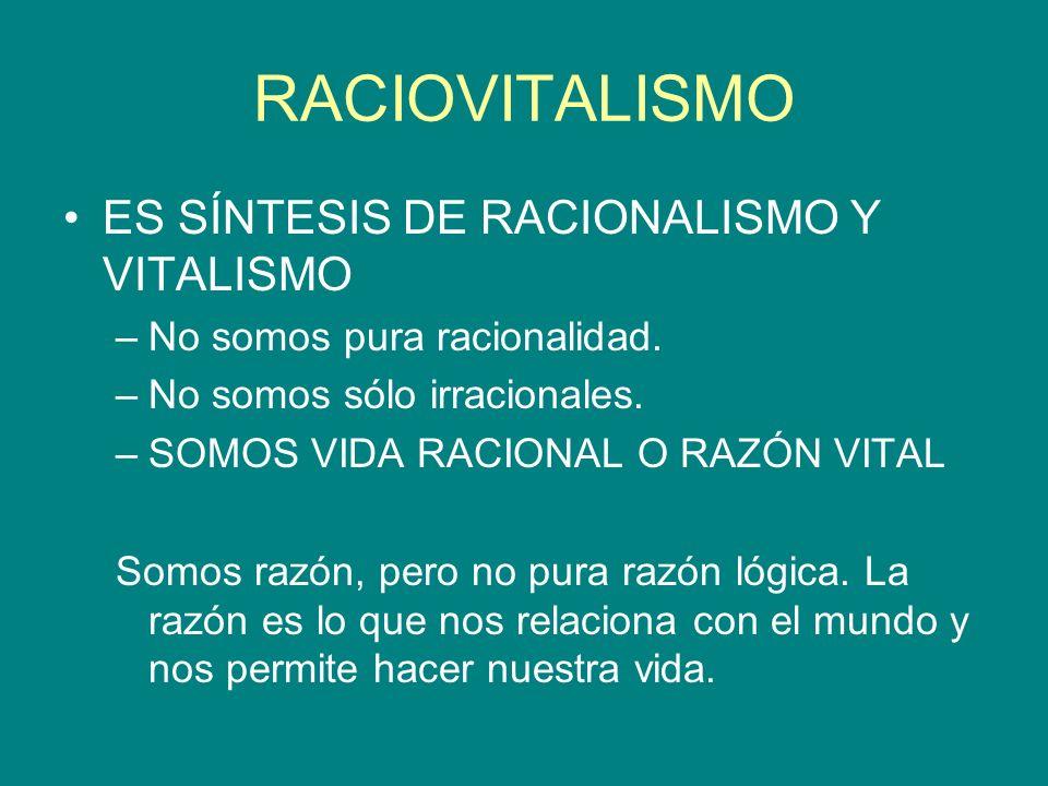 ES SÍNTESIS DE RACIONALISMO Y VITALISMO –No somos pura racionalidad. –No somos sólo irracionales. –SOMOS VIDA RACIONAL O RAZÓN VITAL Somos razón, pero