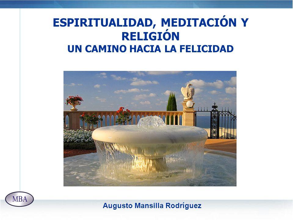ESPIRITUALIDAD, MEDITACIÓN Y RELIGIÓN UN CAMINO HACIA LA FELICIDAD Augusto Mansilla Rodríguez