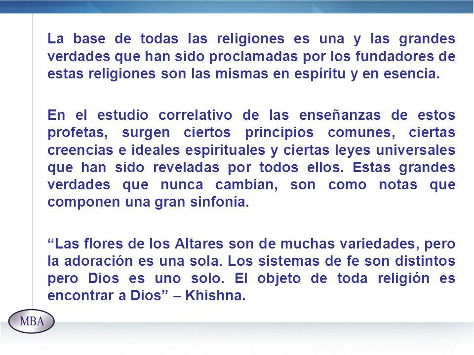 La base de todas las religiones es una y las grandes verdades que han sido proclamadas por los fundadores de estas religiones son las mismas en espíri