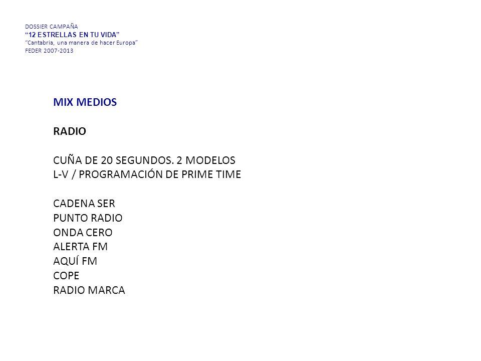 DOSSIER CAMPAÑA 12 ESTRELLAS EN TU VIDA Cantabria, una manera de hacer Europa FEDER 2007-2013 MIX MEDIOS RADIO CUÑA DE 20 SEGUNDOS.