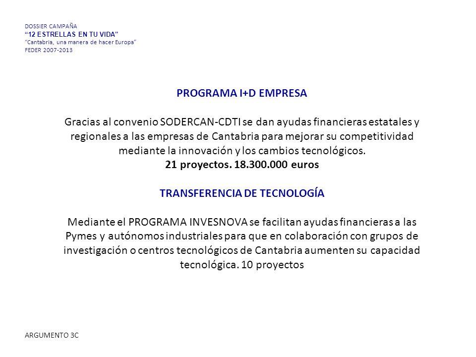 PROGRAMA I+D EMPRESA Gracias al convenio SODERCAN-CDTI se dan ayudas financieras estatales y regionales a las empresas de Cantabria para mejorar su competitividad mediante la innovación y los cambios tecnológicos.