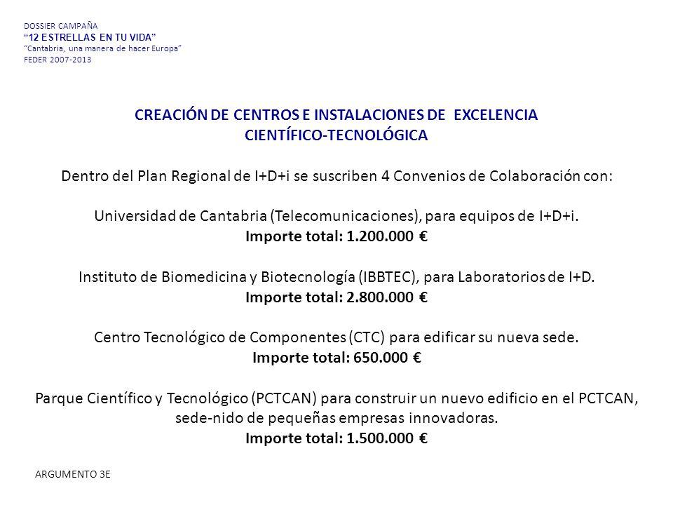 CREACIÓN DE CENTROS E INSTALACIONES DE EXCELENCIA CIENTÍFICO-TECNOLÓGICA Dentro del Plan Regional de I+D+i se suscriben 4 Convenios de Colaboración con: Universidad de Cantabria (Telecomunicaciones), para equipos de I+D+i.