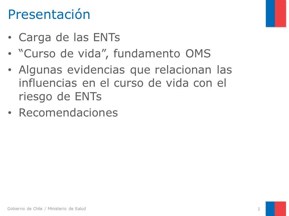 Gobierno de Chile / Ministerio de Salud Enfermedad y factores de riesgo establecidos durante el curso de vida (2) c) Emergencia de los principales factores de riesgo biológicos que actúan tempranamente en la vida.