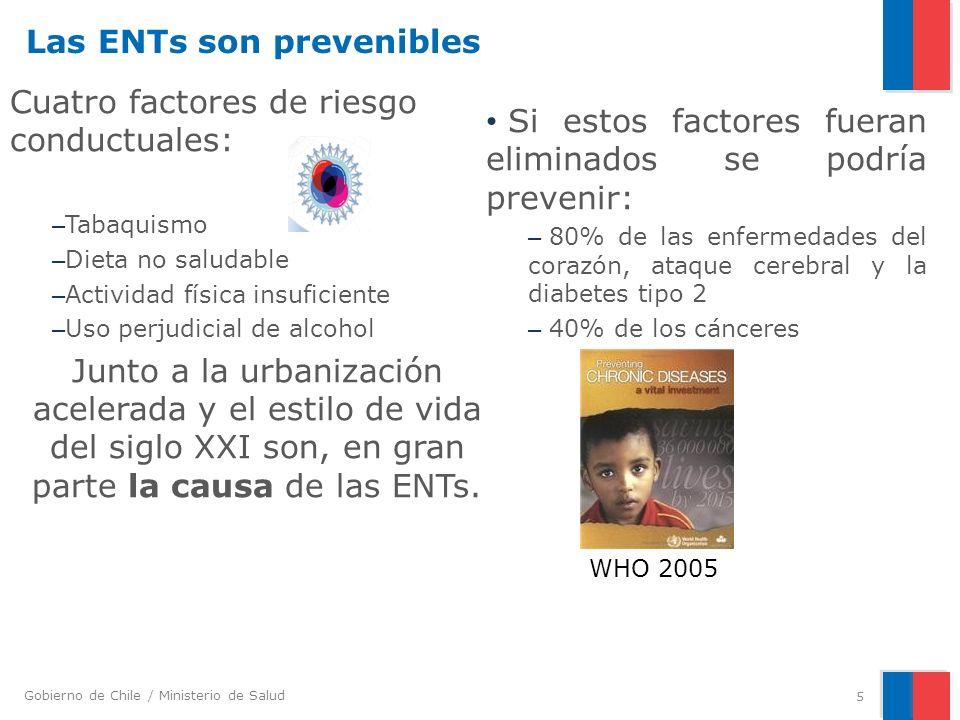 Gobierno de Chile / Ministerio de Salud Enfermedad y estilos de vida no saludables a través del curso de vida a) Estilos de vida no saludables impulsan el surgimiento de riesgo de enfermedad tempranamente en la vida.