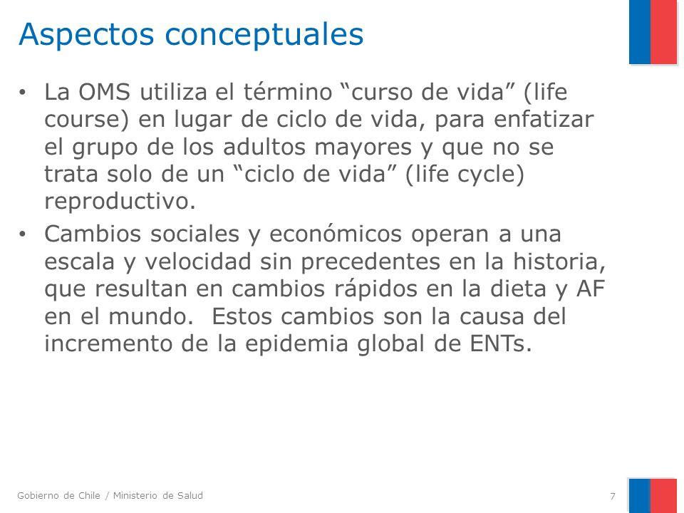 Gobierno de Chile / Ministerio de Salud Etapas del curso de vida Fuente: adaptado de ACC/SCN, 2000 – Desarrollo fetal y ambiente materno – Infancia y niñez – Adolescencia – Adultez – Envejecimiento y personas mayores 8