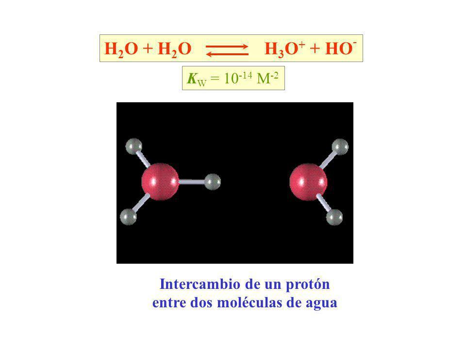 Intercambio de un protón entre dos moléculas de agua H 2 O + H 2 O H 3 O + + HO - K W = 10 -14 M -2