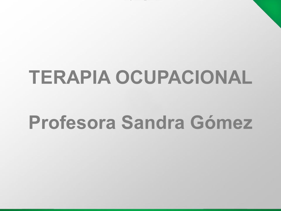 TERAPIA OCUPACIONAL Profesora Sandra Gómez