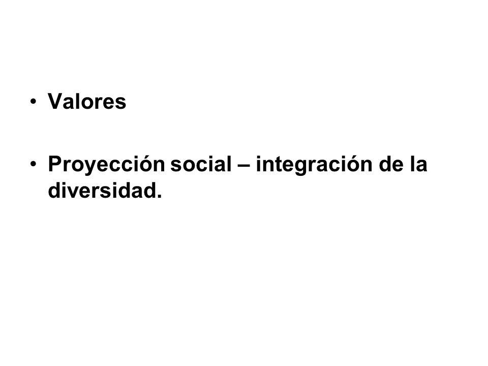 Valores Proyección social – integración de la diversidad.