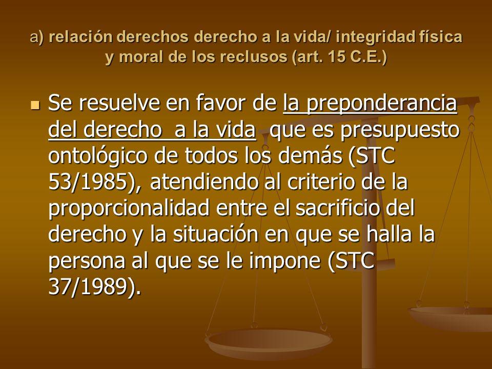 a) relación derechos derecho a la vida/ integridad física y moral de los reclusos (art.