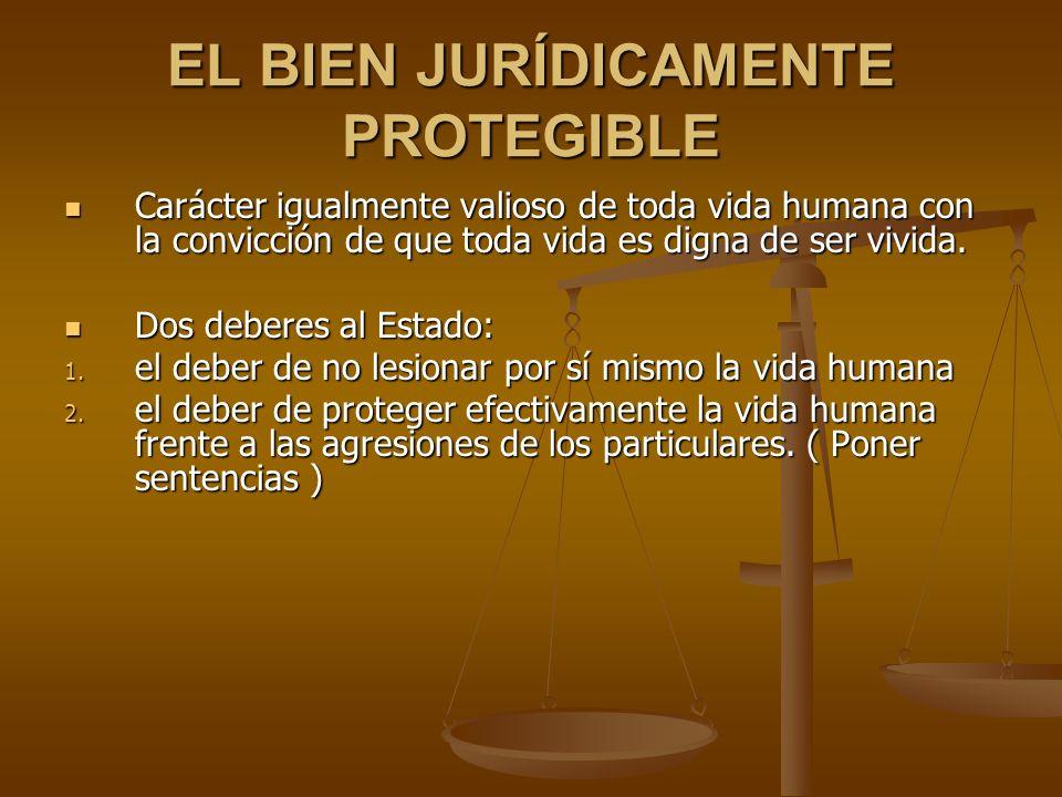 EL BIEN JURÍDICAMENTE PROTEGIBLE Carácter igualmente valioso de toda vida humana con la convicción de que toda vida es digna de ser vivida.