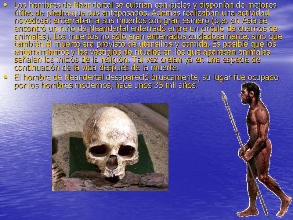 Los hombres de Neandertal se cubrían con pieles y disponían de mejores útiles de piedra que sus antepasados. Además realizaban una actividad novedosa: