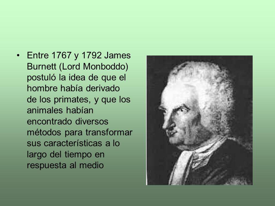 Entre 1767 y 1792 James Burnett (Lord Monboddo) postuló la idea de que el hombre había derivado de los primates, y que los animales habían encontrado