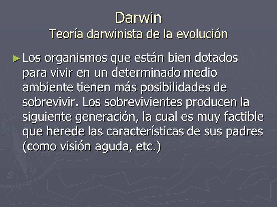 Darwin Teoría darwinista de la evolución Los organismos que están bien dotados para vivir en un determinado medio ambiente tienen más posibilidades de
