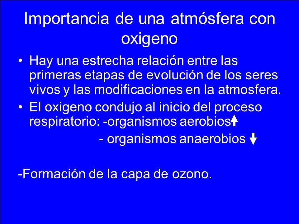 Importancia de una atmósfera con oxigeno Hay una estrecha relación entre las primeras etapas de evolución de los seres vivos y las modificaciones en l
