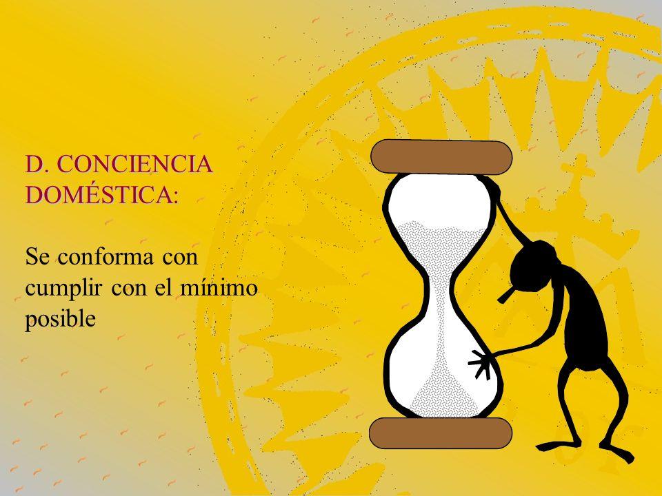 D. CONCIENCIA DOMÉSTICA: Se conforma con cumplir con el mínimo posible