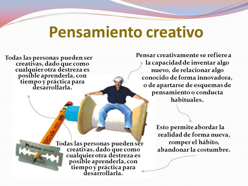 Pensamiento creativo Pensar creativamente se refiere a la capacidad de inventar algo nuevo, de relacionar algo conocido de forma innovadora, o de apartarse de esquemas de pensamiento o conducta habituales.