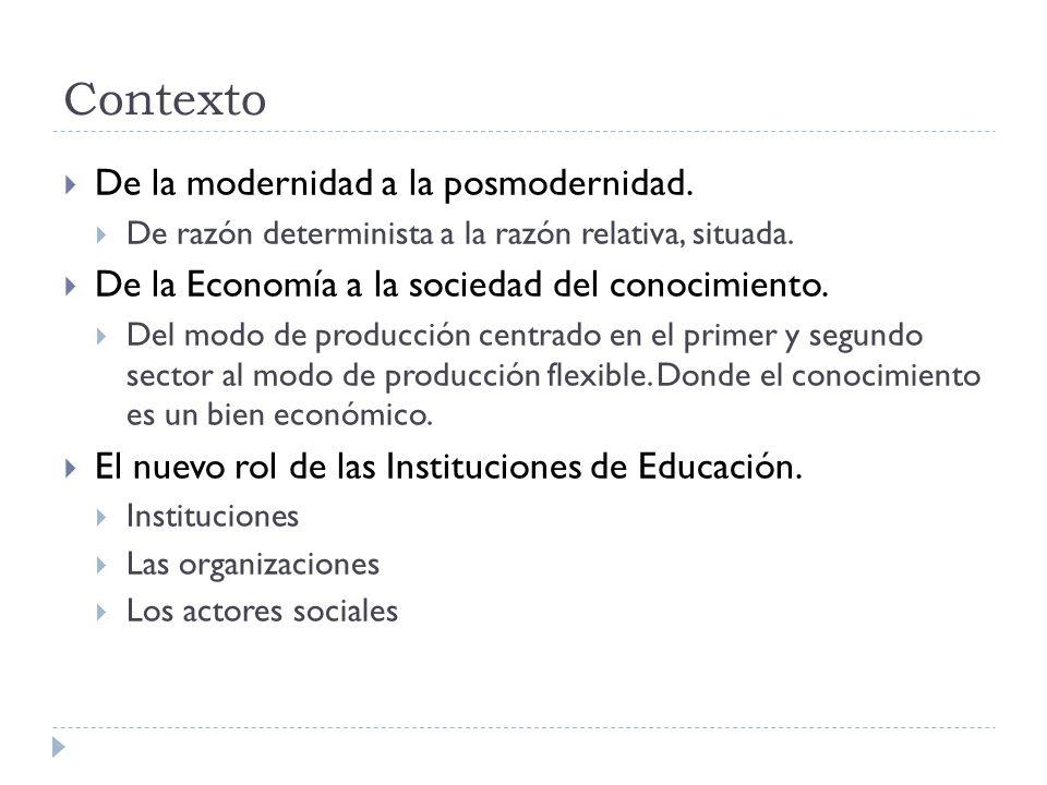 Contexto De la modernidad a la posmodernidad. De razón determinista a la razón relativa, situada. De la Economía a la sociedad del conocimiento. Del m