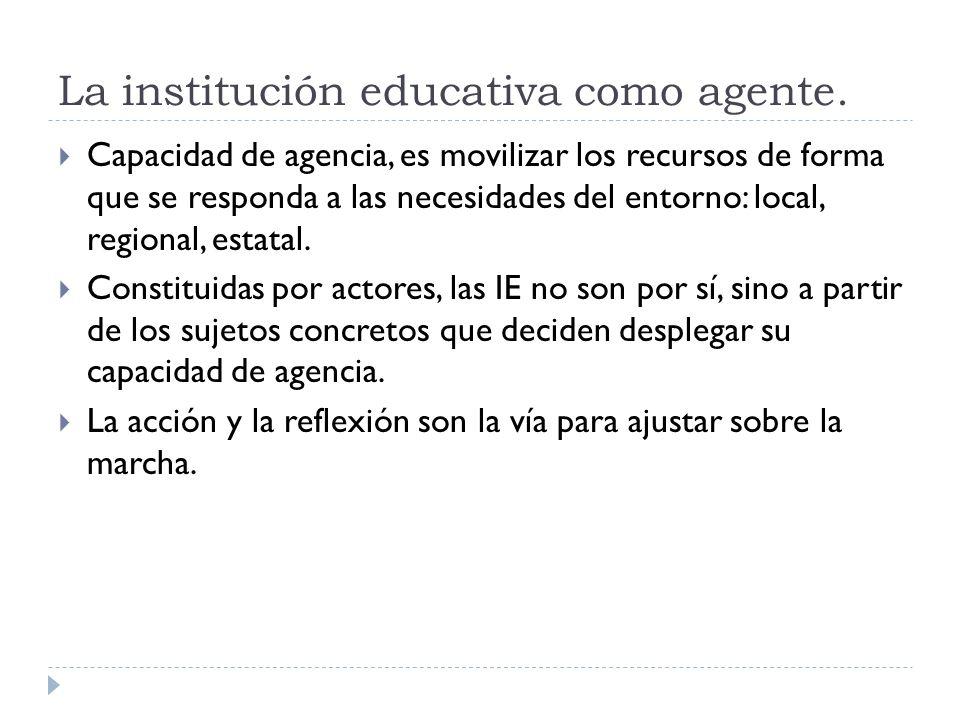 La institución educativa como agente. Capacidad de agencia, es movilizar los recursos de forma que se responda a las necesidades del entorno: local, r