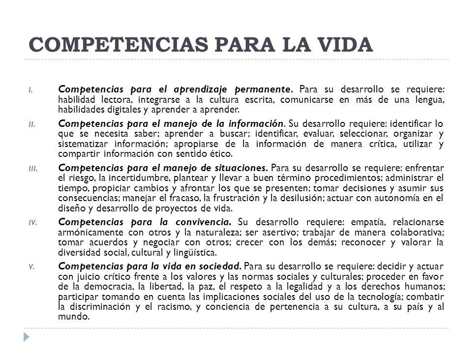 COMPETENCIAS PARA LA VIDA I. Competencias para el aprendizaje permanente. Para su desarrollo se requiere: habilidad lectora, integrarse a la cultura e