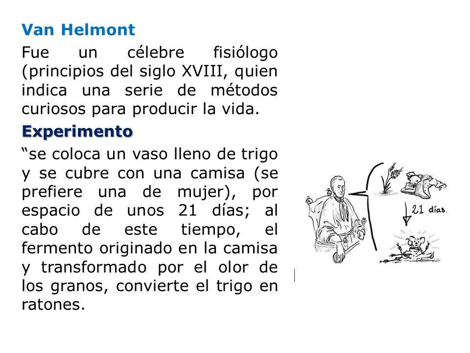 Van Helmont Fue un célebre fisiólogo (principios del siglo XVIII, quien indica una serie de métodos curiosos para producir la vida.Experimento se colo