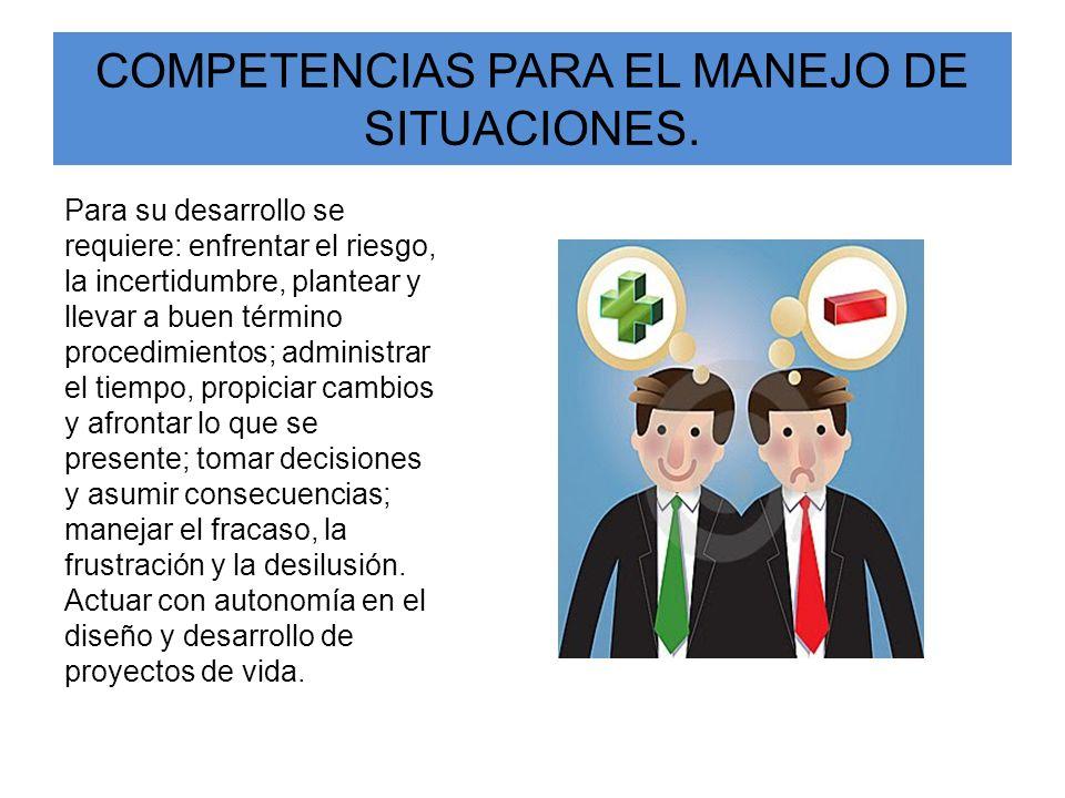 COMPETENCIAS PARA EL MANEJO DE SITUACIONES. Para su desarrollo se requiere: enfrentar el riesgo, la incertidumbre, plantear y llevar a buen término pr