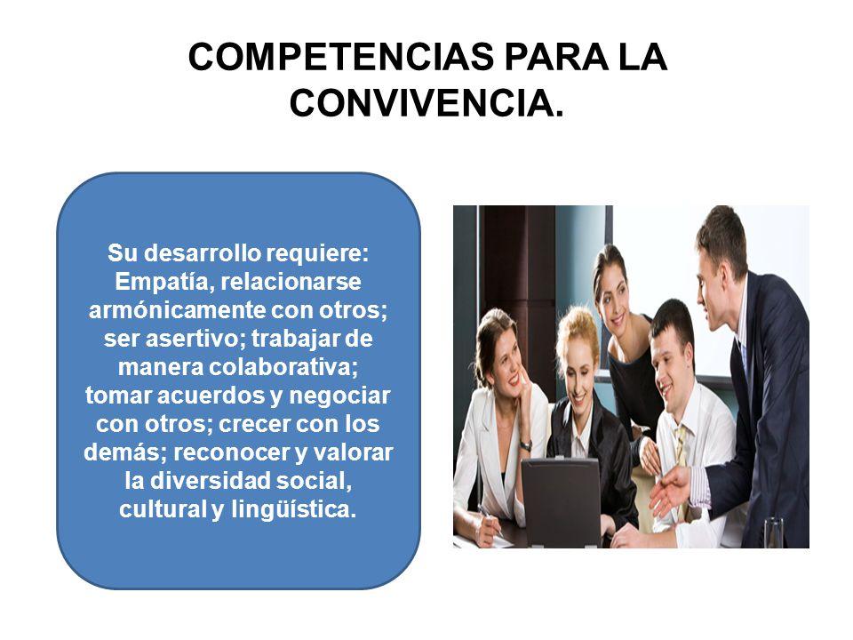 COMPETENCIAS PARA LA CONVIVENCIA. Su desarrollo requiere: Empatía, relacionarse armónicamente con otros; ser asertivo; trabajar de manera colaborativa